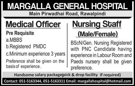Private Jobs in Margalla General Hospital Rawalpindi