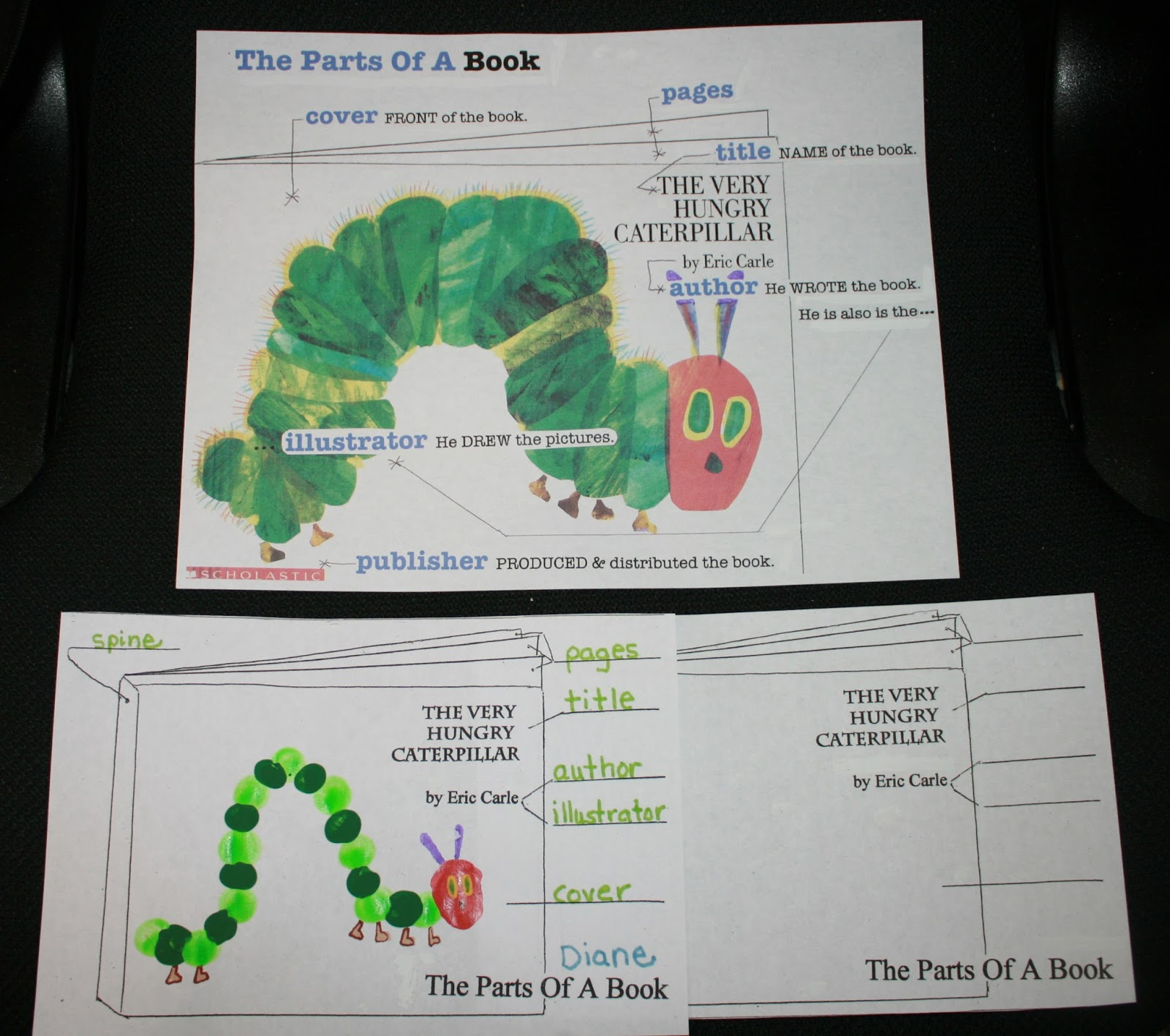 Classroom Freebies Parts of a Book For The Very Hungry Caterpillar – Parts of a Book Worksheet