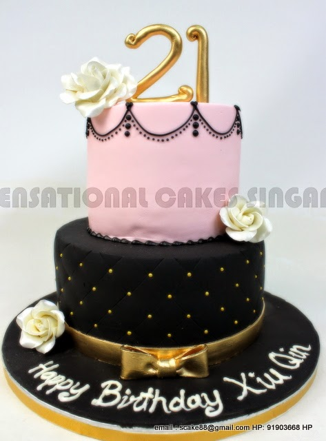 Vintage Pink 21st Birthday Cake Singapore Wedding Black Theme Classic Sweet