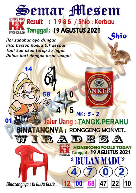 Syair Semar Mesem HK Malam Ini 19-Agt-2021