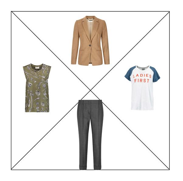 Базовые серые брюки, жакет цвета camel, топ с принтом и футболка с надписью для капсульного гардероба в повседневном стиле Casual