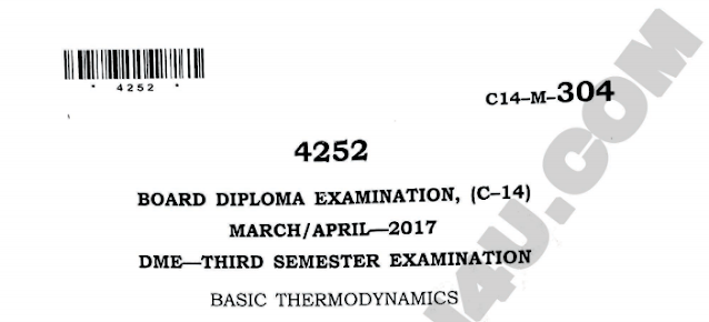 Sbtet basic thermodynamics old question paeprs march/april 2017 diploma