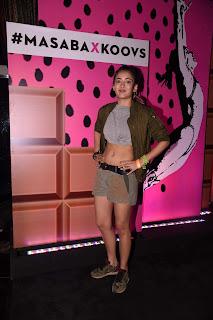 Akshara Haasan in Shorts and Crop top at Fashion Designer Masaba Gupta X Koovs Launch Party,Mumbai