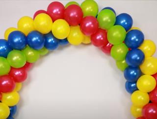 dreifarbiger ballonbogen zum selber machen.