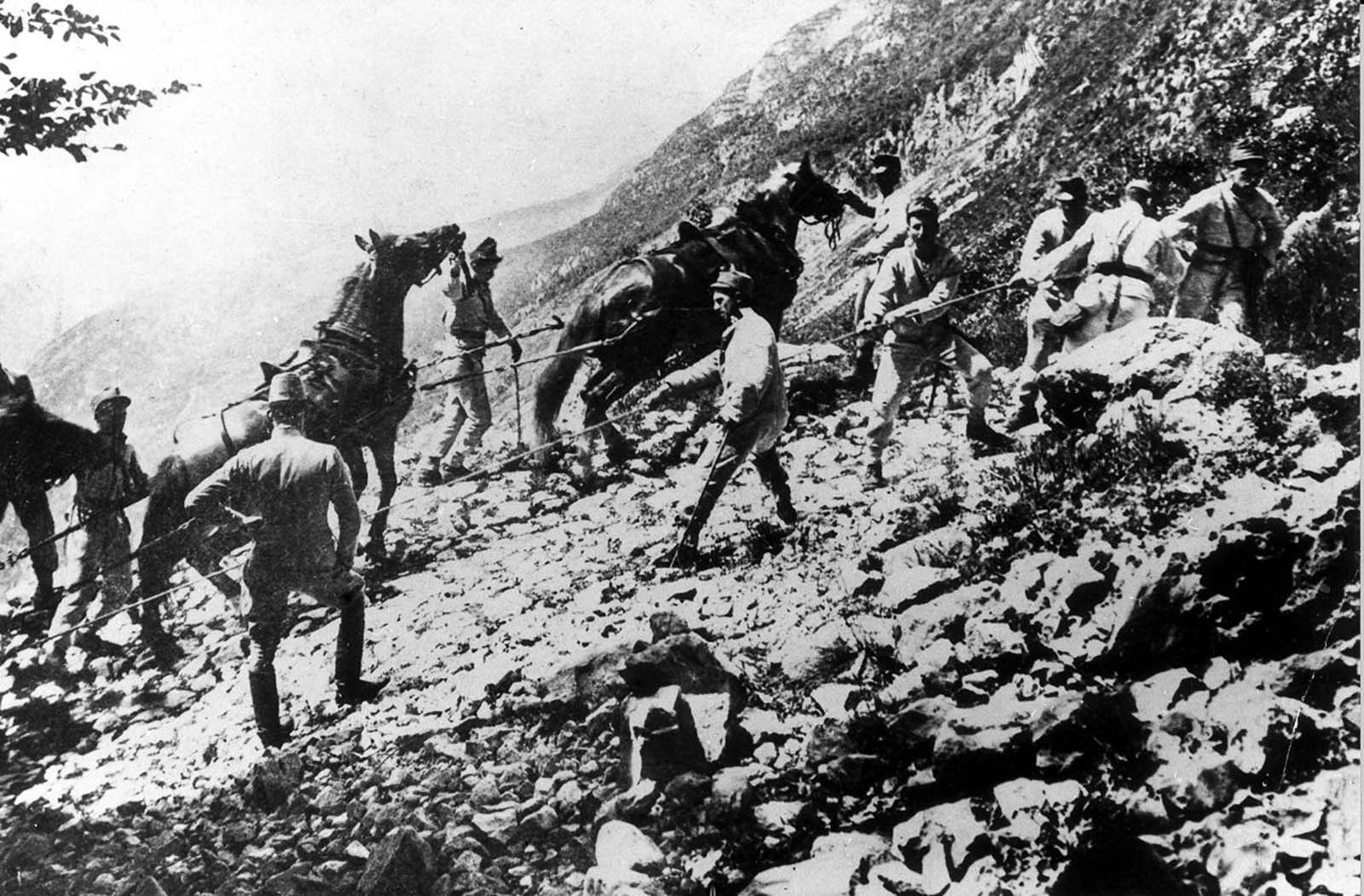 Austrian mountain infantry haul ordnance up a slope. 1916.