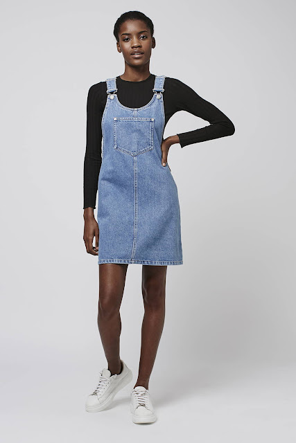 denim round neck pinafore, denim pinafore topshop,