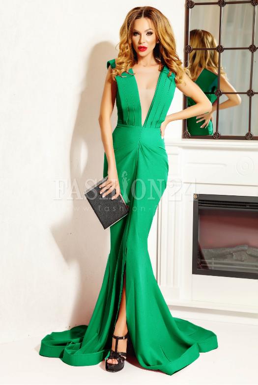 Rochie lunga de seara, verde, croi tip sirena, cu trena la spate, decolteul in V in fata si la spate