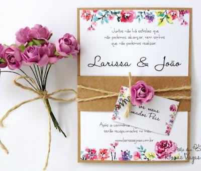 convite artesanal personalizado aniversário infantil 15 anos casamento moderno rústico floral aquarelado boho papel kraft fita sisal flora de papel papelaria personalizada noiva delicado sofisticado diferente