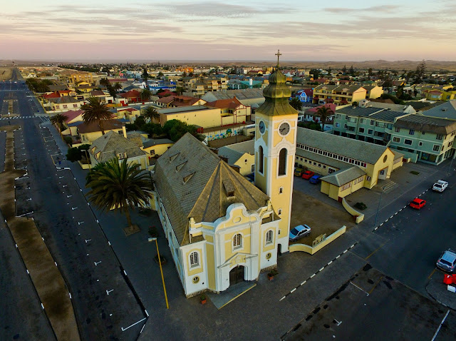 Namibia: German Lutheran Church Swakopmund aerial photo