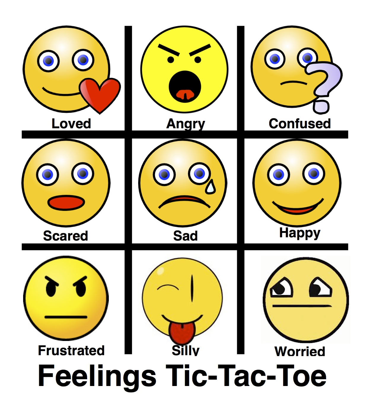 Creative Clinical Social Worker Feelings Tic Tac Toe