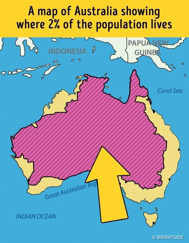 Chỉ số 2% dân số Úc đang sống trong vùng màu hồng