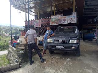 Bhabinkamtibmas Polsek Alla Sambang Desa Binaan dan sampai Himbauan Prokes