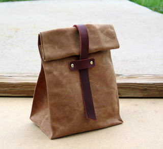leather lunch sack