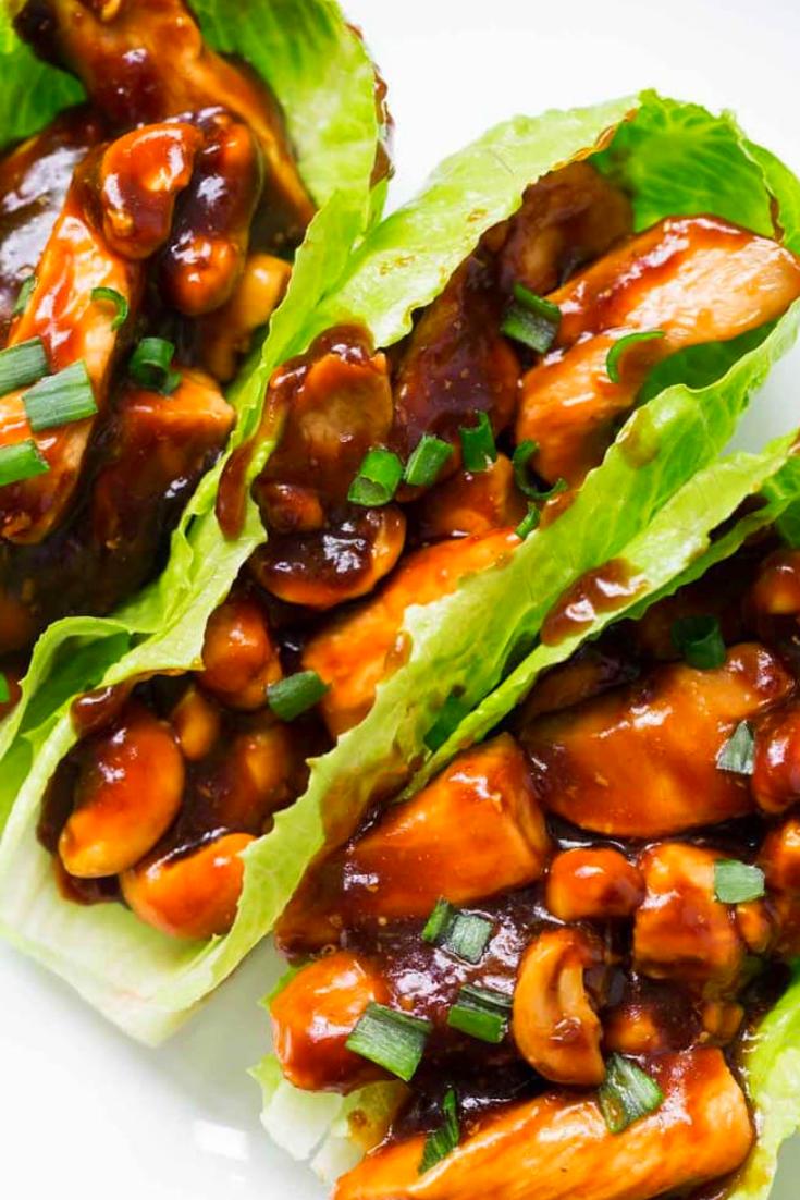 Easy Cashew Chicken Lettuce Wraps