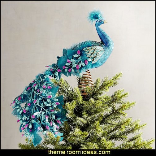 Peacock Tree Topper  peacock color Christmas decorating - peacock color decorations - peacock themed Christmas - Peacock Tree Theme - peacock christmas tree decorations - Peacock Decorations - Peacock Tree Theme decorating Christmas Peacock - christmas feathered Peacock Christmas Ornaments - Peacock themed Christmas