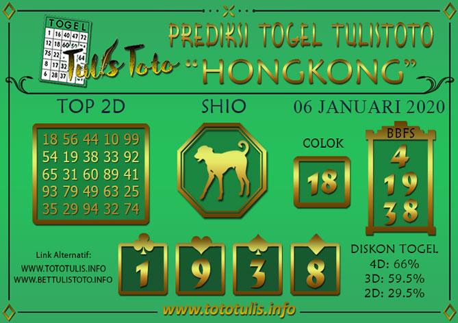 Prediksi Togel HONGKONG TULISTOTO 06 JANUARI 2020