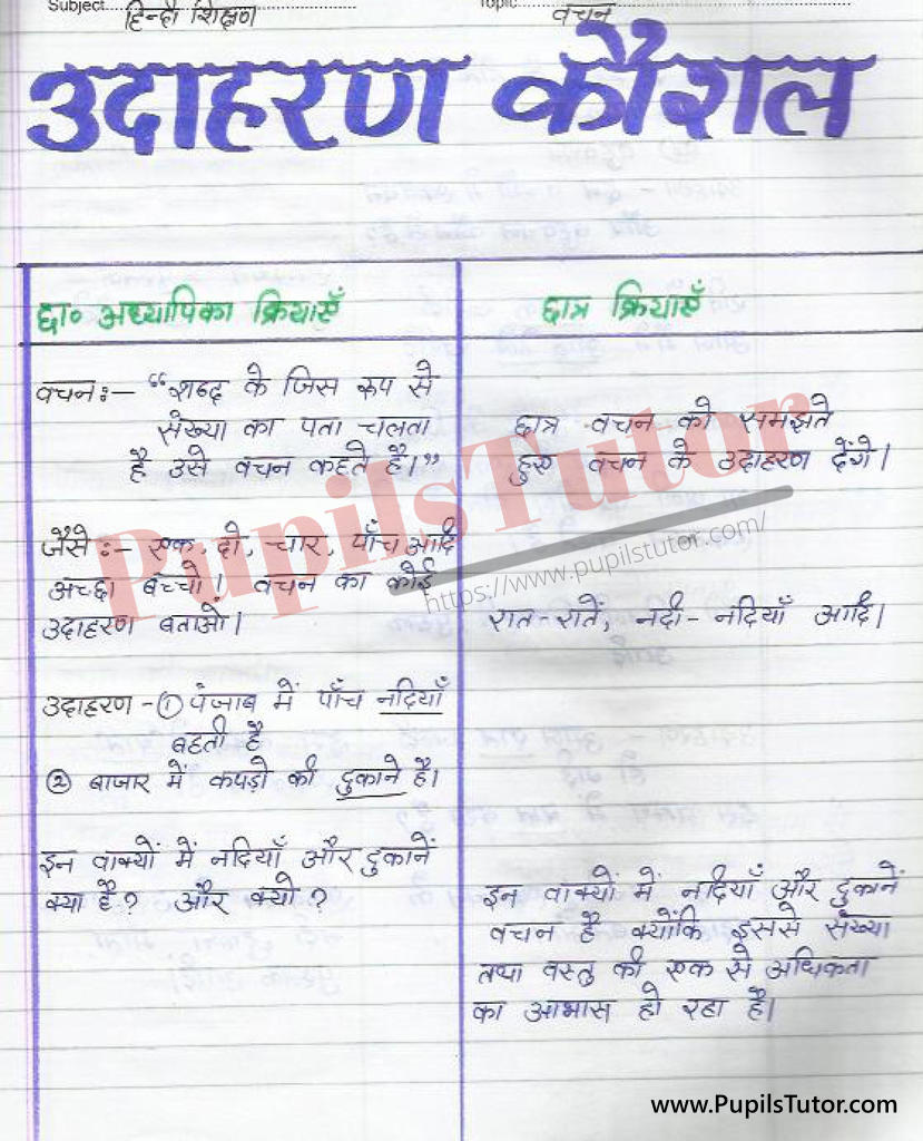 Hindi Grammar Vachan Lesson Plan in Hindi on udahran sahit dristant Kaushal for B.Ed First Year - Second Year - DE.LE.D - DED - M.Ed - NIOS - BTC - BSTC - CBSE - NCERT Download PDF for FREE