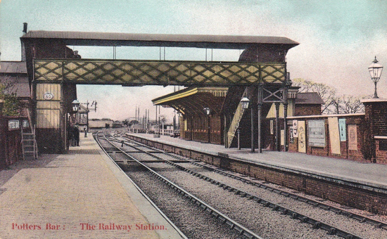 Postcard of Potters Bar railway station, Image from The Peter Miller Collection