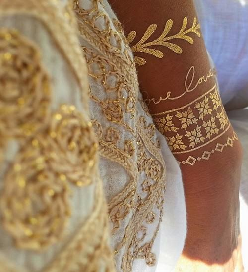 gold foil temporary body tattoos