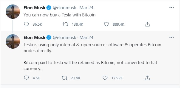 """Screenshot Twitter Elon Musk """"Sekarang Tesla Dapat Dibeli Dengan Bitcoin"""""""