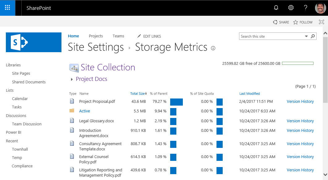 sharepoint online find large files