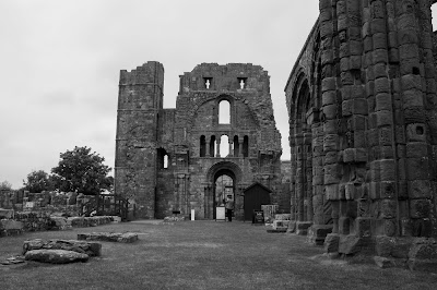 Monochrome photo of the priory from inside.