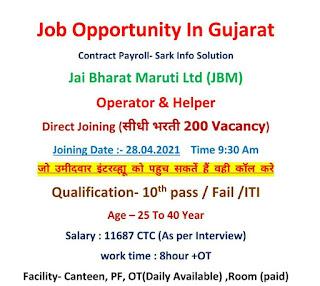 Jai Bharat Maruti Ltd (JBM) Sanand Gidc 1, Gujarat Job Opportunity For ITI and 10th Pass/Fail Candidates