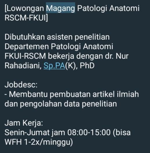 [Lowongan Magang Patologi Anatomi RSCM-FKUI]