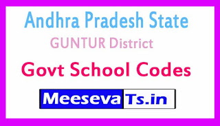 GUNTUR District Govt School Codes in Andhra Pradesh State