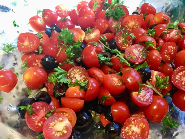 tomato, caper, and olive sauce