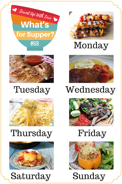 What's for Supper Sunday meal plan recipes include Easy Stromboli, BBQ Chicken, Tequila Lime Steak, Stuffed Peppers, and more.