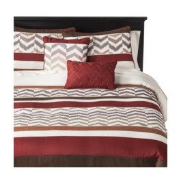 red and gray chevron bedding