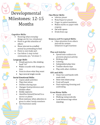 Pediatric occupational therapy tips developmental milestone chart the following developmental milestone chart will give you a general idea of what do expect during the next few months altavistaventures Image collections