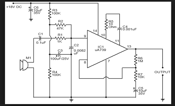 wiring schematic diagram op amp ua739 dynamic microphones preamplifier. Black Bedroom Furniture Sets. Home Design Ideas