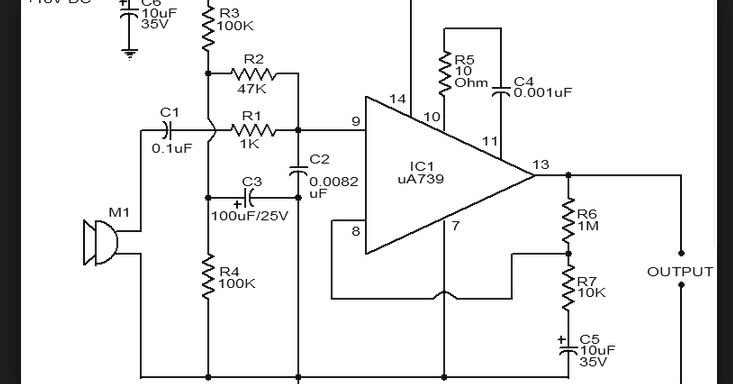 Wiring Schematic Diagram: Op-Amp UA739 Dynamic Microphones