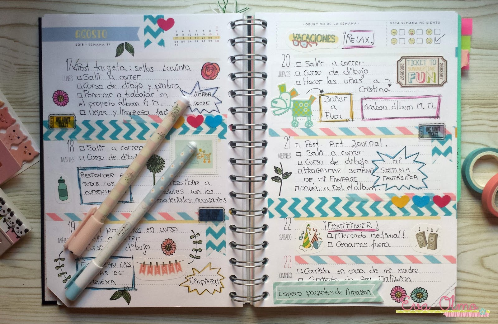El caracol verde decoraci n de mi agenda mr wonderful - Como hacer una agenda escolar ...