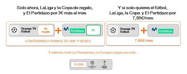 Precio del fútbol con Orange para la temporada 2018 2019.