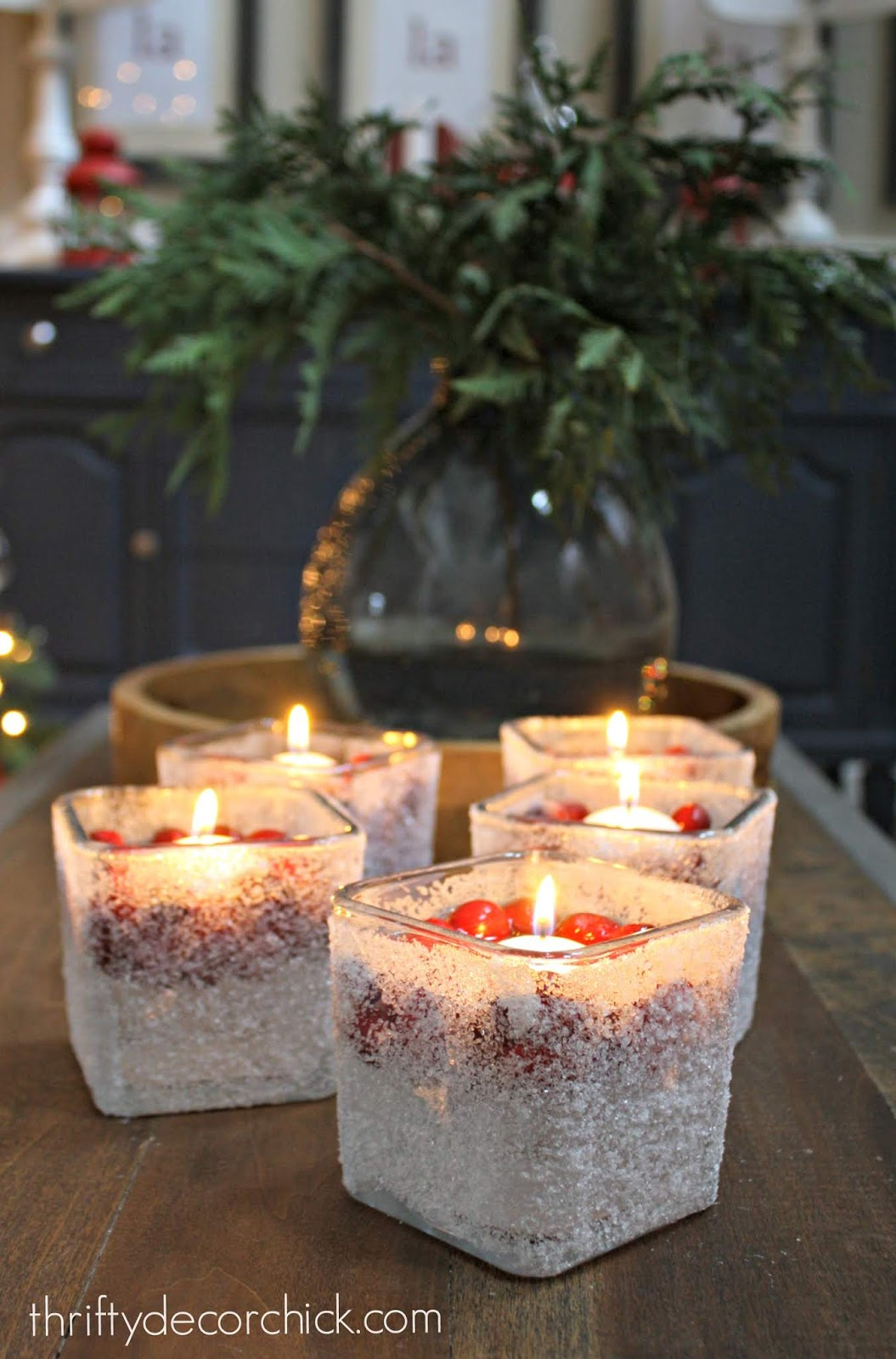 DIY snowy candles craft