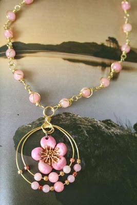 Golden Spring: polymer clay art bead, brass, jade, seed beads, 4-thread brais, wire wrapping :: All Pretty Things