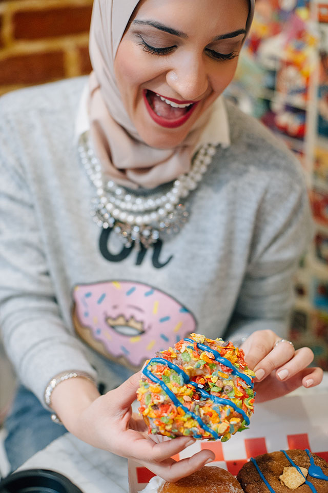 Diablo Doughnuts Baltimore-Francesca's Sweatshirt-Oh Donut Even Shirt-Weekend Casual Look-Hijabi-Modest Fashion-Kate Spade cobble hill milieu Bag - Marc Fisher Adalyn Wedge