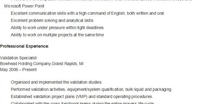 resume samples  sample validation specialist resume