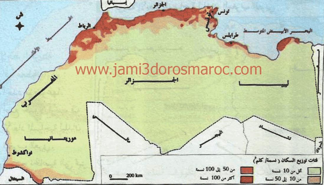 خريطة توزيع السكان في المغرب العربي