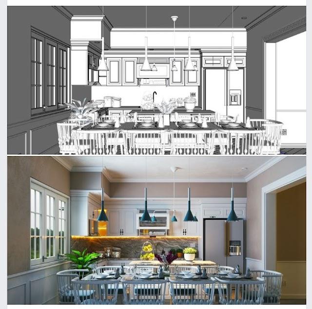 Mẫu bếp ăn kiểu cổ điển kèm model SU full