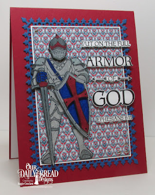 ODBD Armor of God, ODBD Full Armor, ODBD Custom Lavish Layers Dies, ODBD Custom Pierced Rectangles Dies, ODBD Americana Quilt Collection, Card Designer Angie Crockett