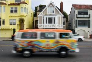 A hippie van cruising San Francisco streets