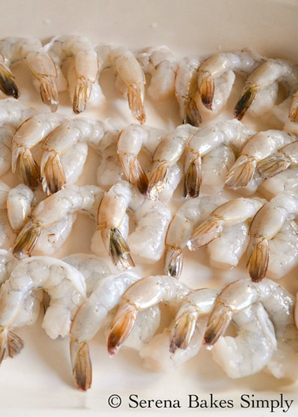 "Arrange Shrimp in 9""x13"" Pan."