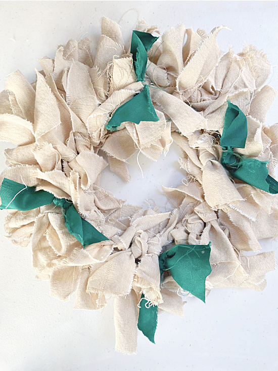 rag wreath with green accents