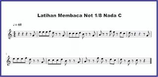 contoh nada c not 1/8 pada not balok