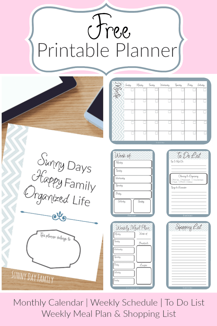 Get organized with this free printable planner! Everything you need including a monthly calendar, weekly schedule, weekly meal plan, daily to do list and more!
