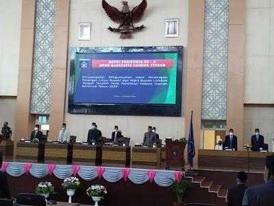 PENETAPAN: DPRD Loteng saat rapat paripurna tentang pengumuman dan penetapan Paslon Bupati dan wakil Bupati terpilih kemarin.